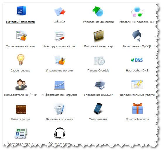 Центральное окно панели управления TimeWeb