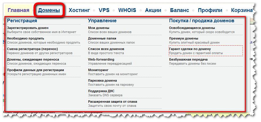 Панель управления 2domains. Вкладка - Домены