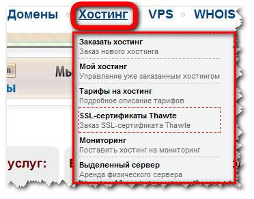 Панель управления 2domains. Вкладка - Хостинг