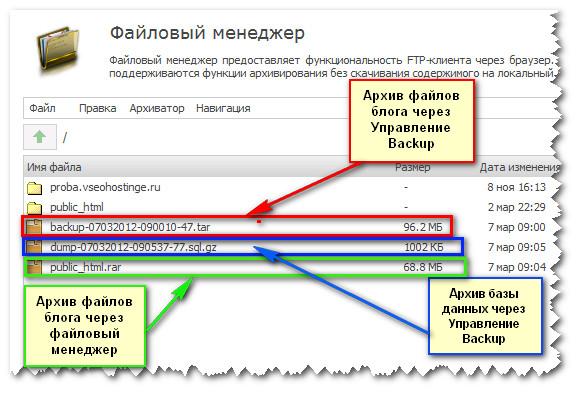 TimeWeb. Два способа архивации блога