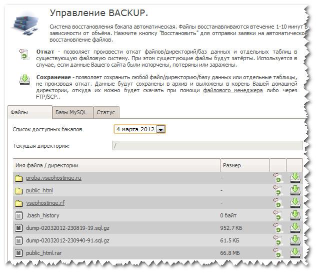 TimeWeb. Управление backup