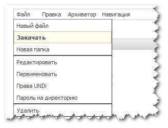 Пункты меню ФМ TimeWeb