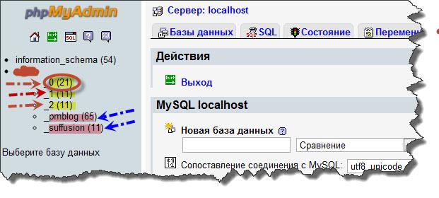 Список баз данных в панели phpMyAdmin