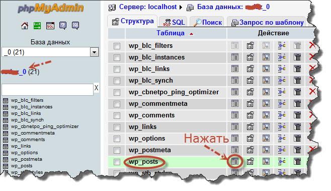 Таблица wp-posts базы данных в панели phpMyAdmin