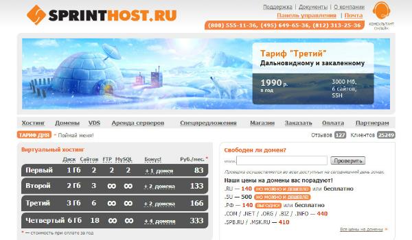 Главная сайта Sprinthost