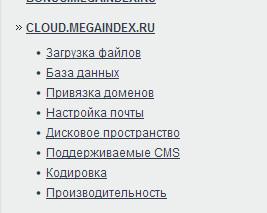 Облачный хостинг в справке Megaindex